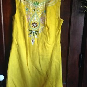 NOS John Meyer of Norwich Dress Embroidered Yellow